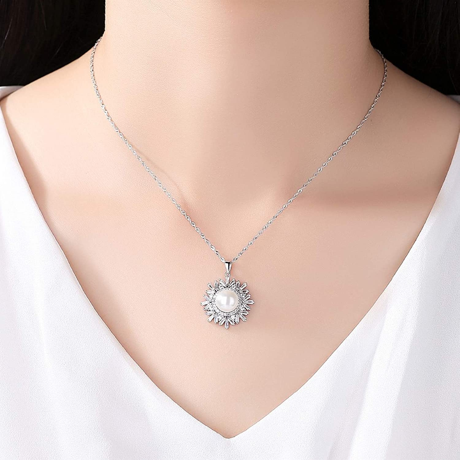 Pendants Necklaces by CS-DB Fashion Snowflake Shape Pearl Gift Silver Womens Jewelry