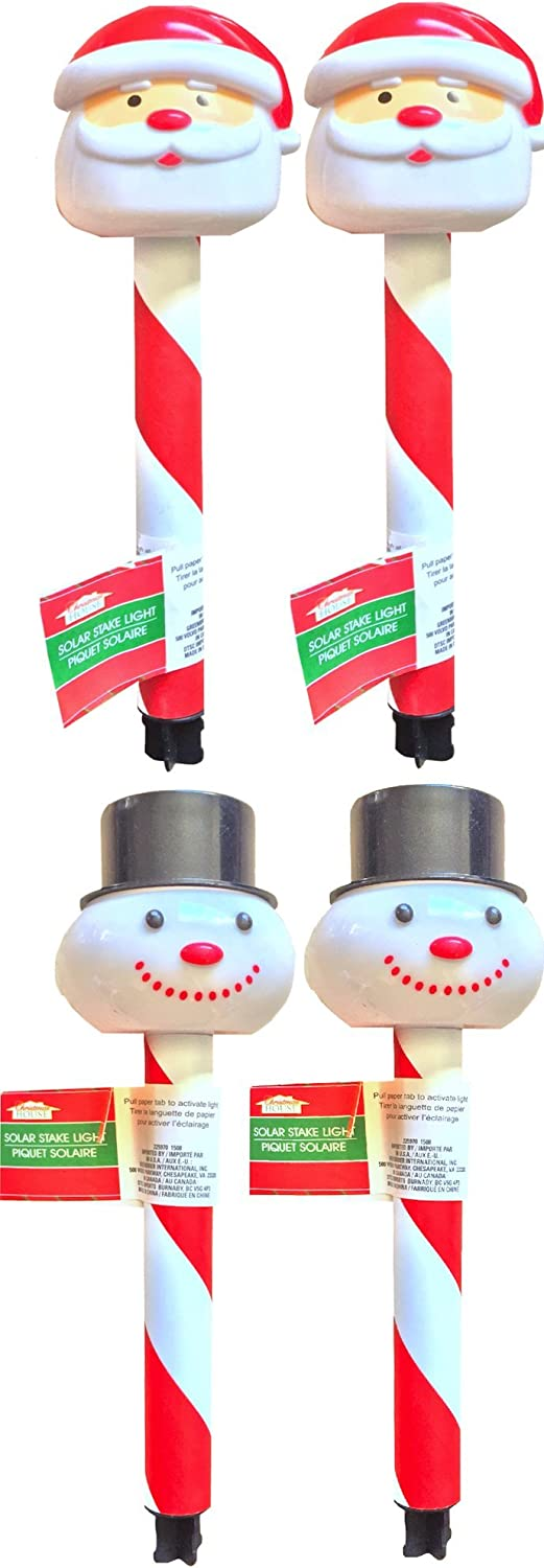 Christmas Landscaping Garden Christmas Decorations House Decorations Christmas Solar Stake Light Santa Claus and the Snowman Decorations All Solar (PACK OF 4)