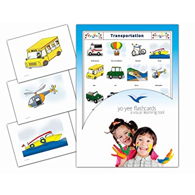 Yo-Yee Flashcards - Transportation and Vehicle Flash Cards - English Vocabulary Picture Cards for Toddlers, Kids, Children and Adults: Toys & Games