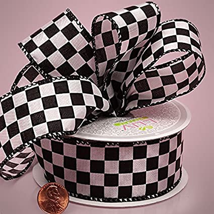 Amazoncom 1 12 X 10yd White Checkered Fabric Ribbon