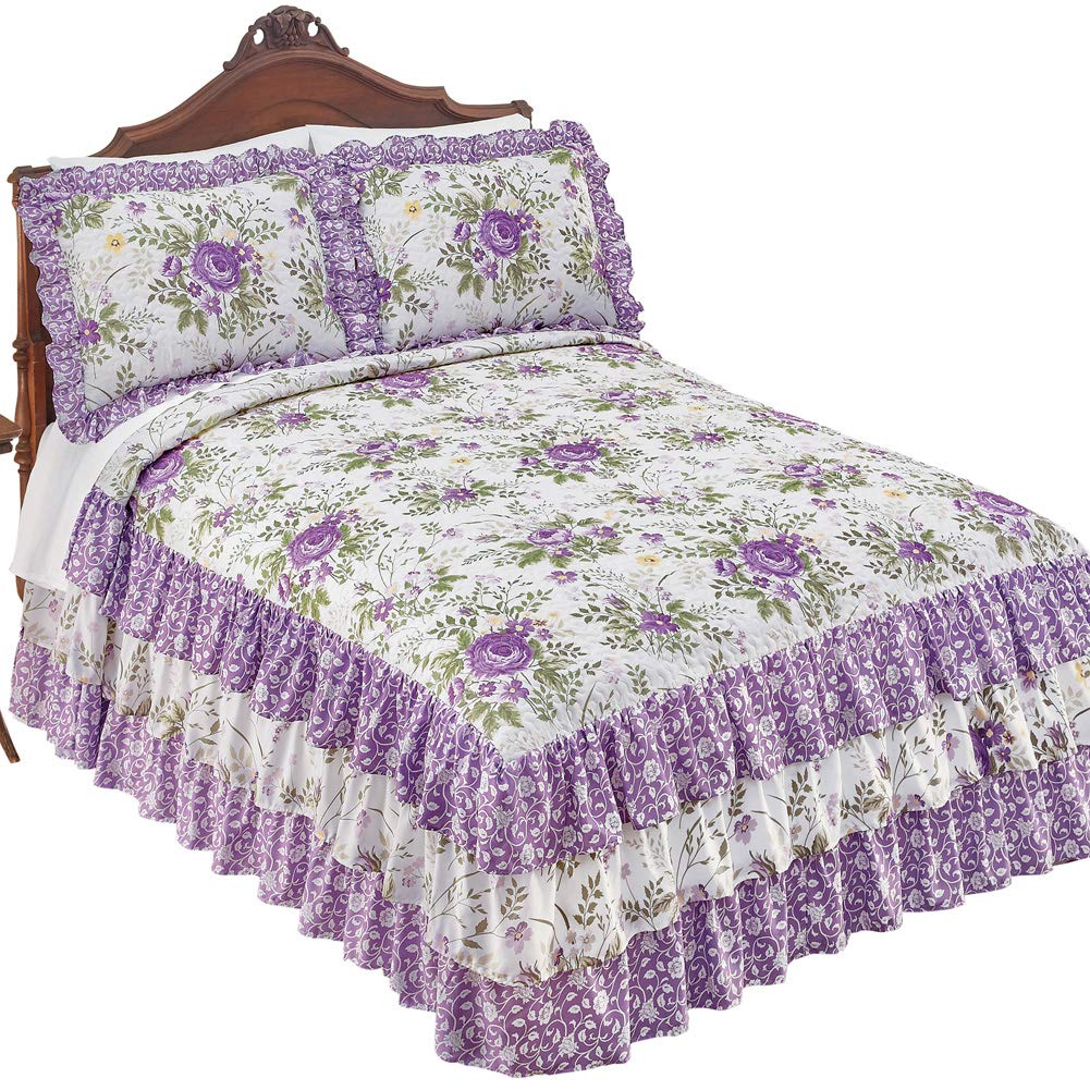 Collections Etc Country Purple Floral 3-Tier Ruffled Bedspread with Quilted Top - Seasonal Bedding, Lavender, Queen