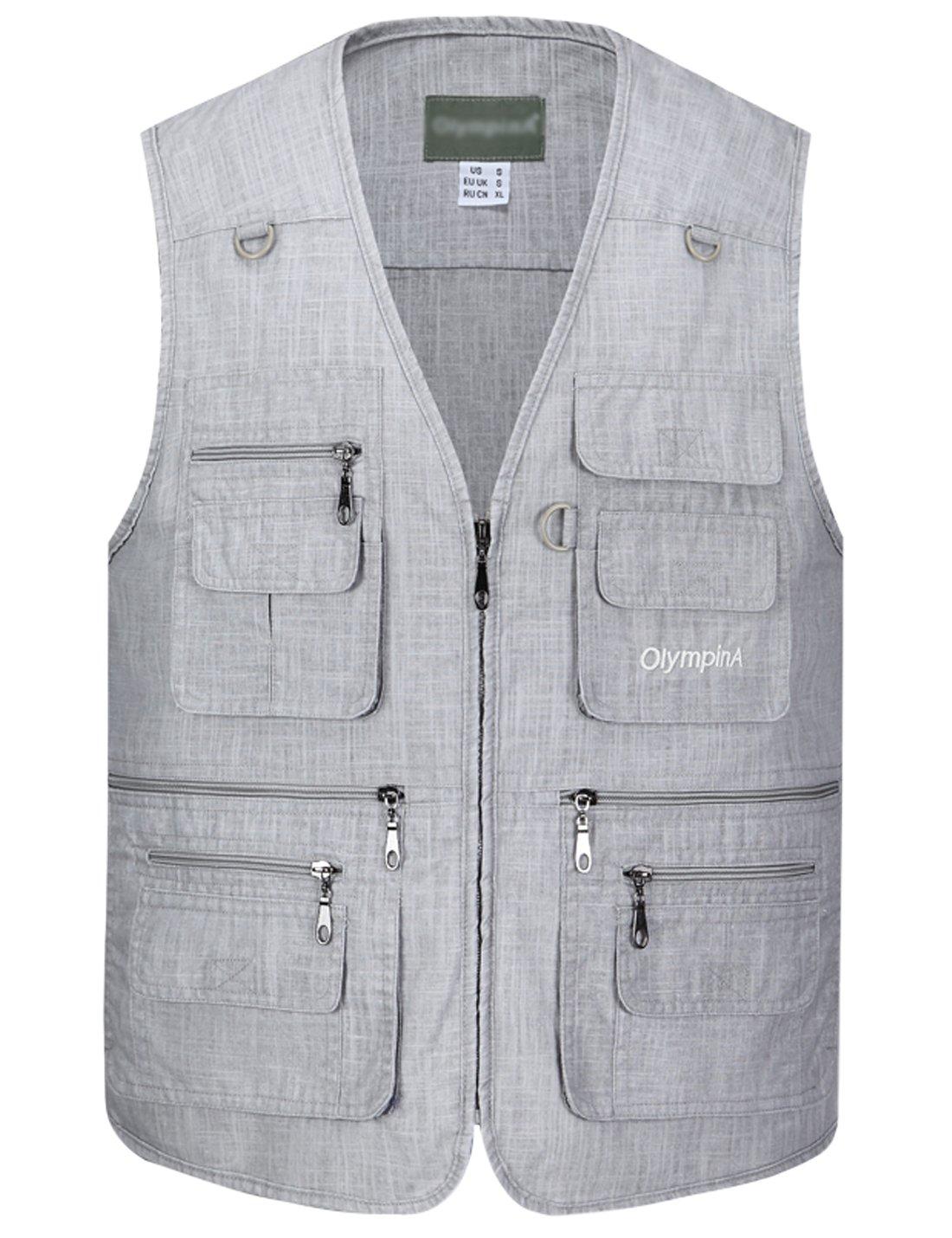 Gihuo Men's Summer Leisure Outdoor Pockets Fish Photo Journalist Vest Plus Size (X-Large, Light Grey#2)