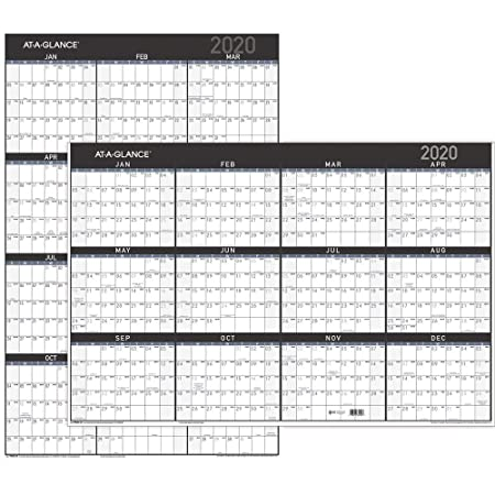 """At A Glance 2020 Erasable Wall Calendar, 24"""" X 36"""", Vertical/Horizontal, Reversible, Contemporary (Pm26 X28) by At A Glance"""