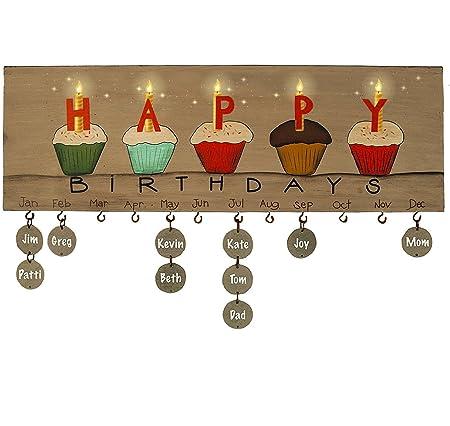 Cumpleaños calendario colgante de pared placa de madera con ...