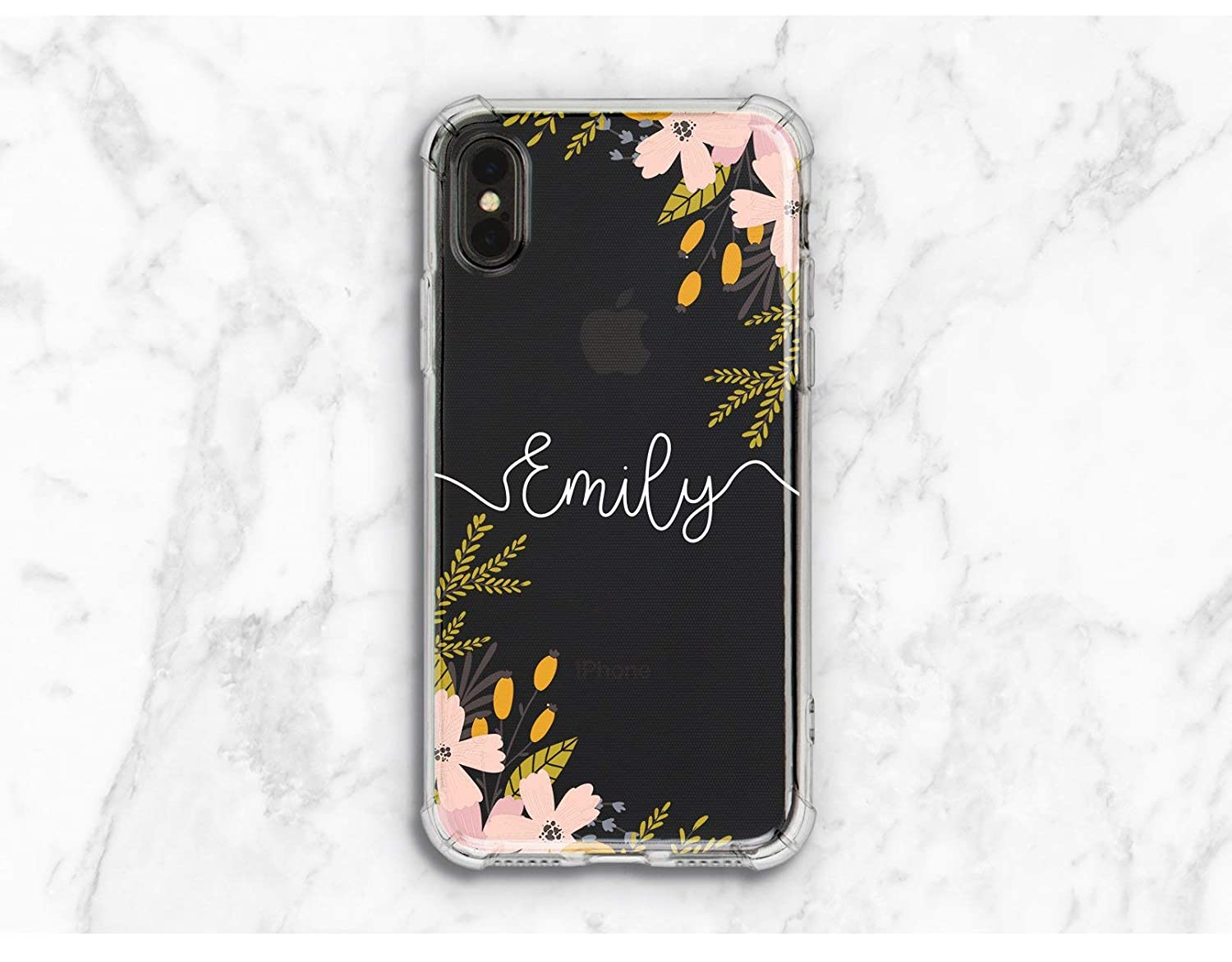 Personalized Floral Pink Summer Flowers Silicone Defender Back Cover Case For Phone iPhone 6 6s 7 8 Plus X