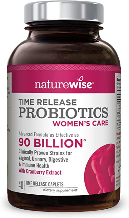 NatureWise Probiotics for Women | Time-Release Probiotic Supplement Comparable to 90 Billion CFU | Cranberry & D Mannose for Vaginal, Urinary, Digestive & Immune Health (Packaging May Vary) [1 Month]