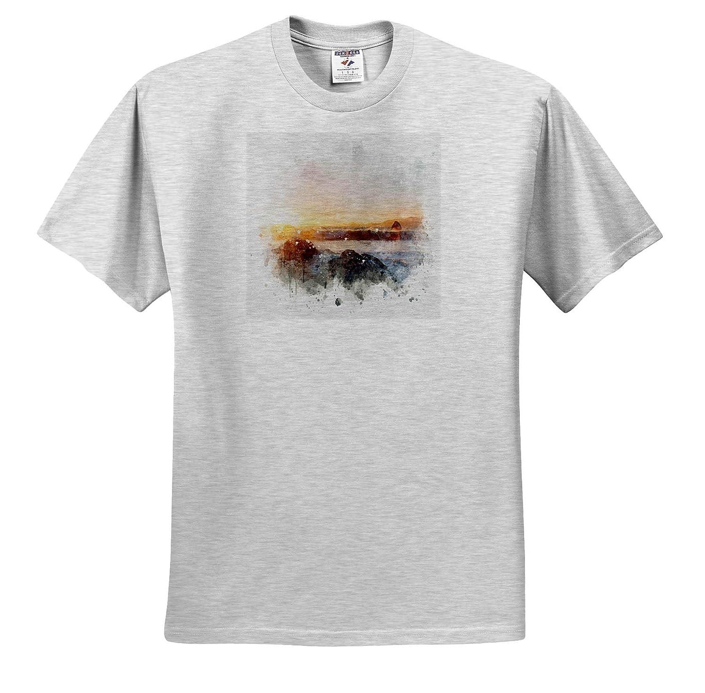 ts/_318717 Adult T-Shirt XL Image of Watercolor Beach Surf Art Impressionist Mixed Media Art 3dRose Anne Marie Baugh