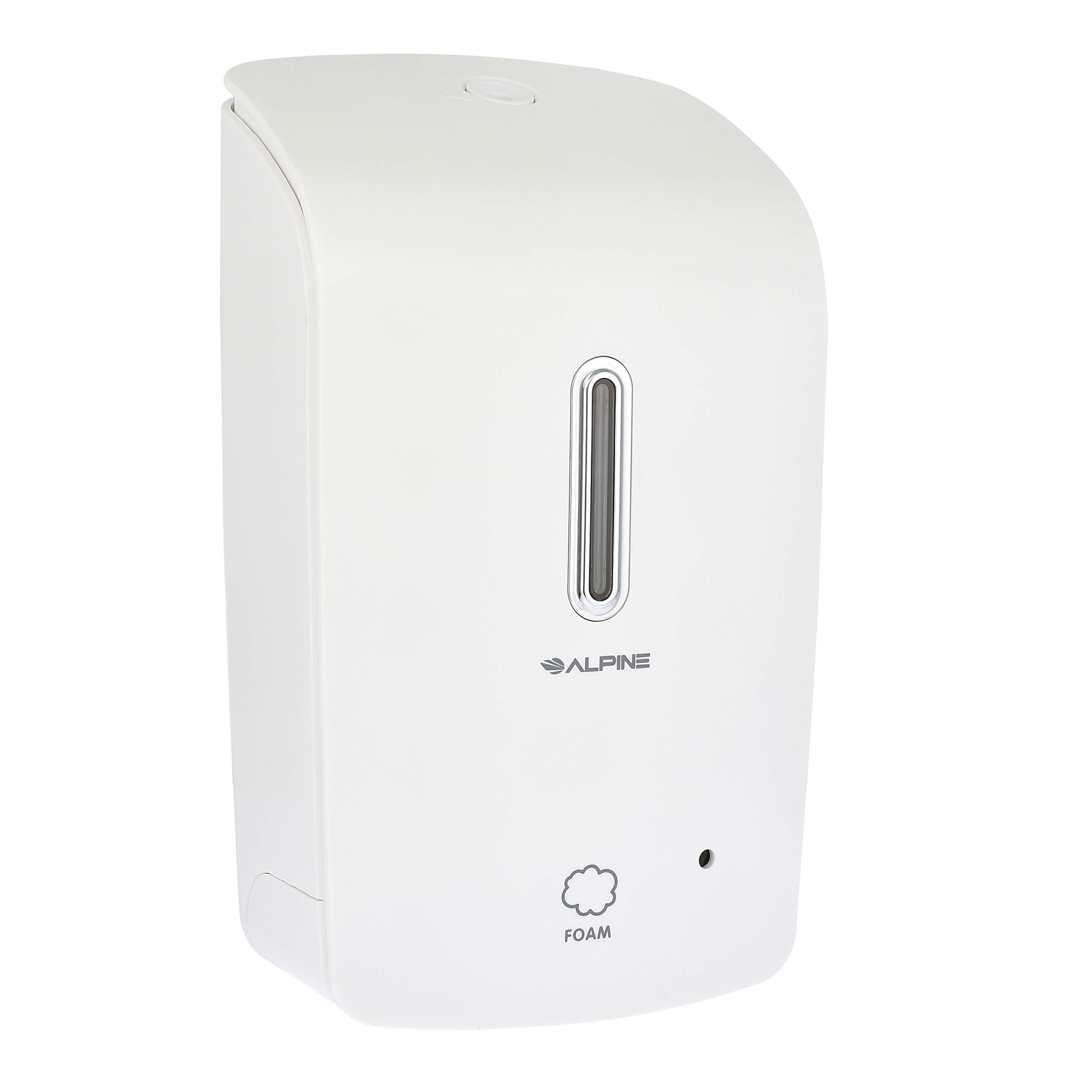 Alpine Wall Mountable, Touchless, Universal Foam Soap Dispenser for Offices, Schools, Warehouses, Food Service Facilities, and Manufacturing Plants, Battery Powered - White