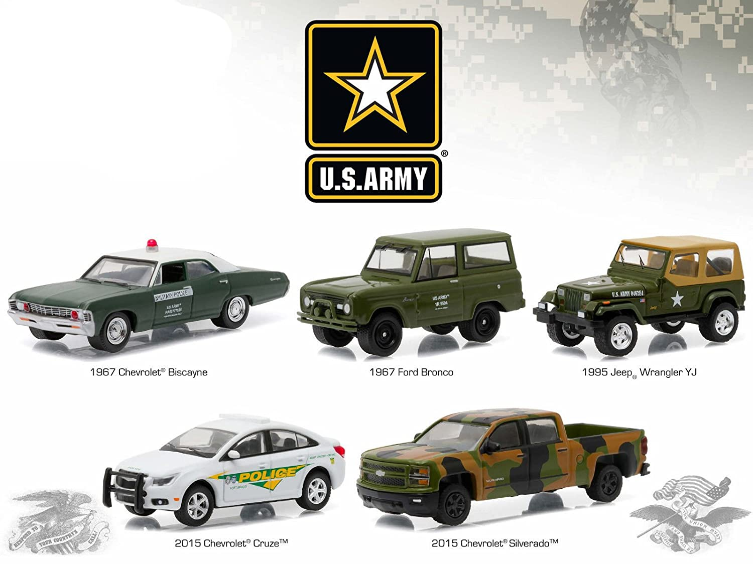 US Army Base 5 Cars Motor World Diorama Set 1/64 by Greenlight 58028 by Greenlight