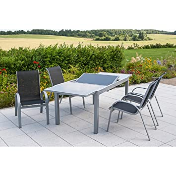 Amazon De Merxx Gartenmobel Set Amalfi Silber Anthrazit 5 Tlg
