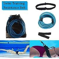 SYCYKA - Cinturón de resistencia para entrenamiento de natación, cuerdas elásticas de resistencia, correa de natación, arnés estático de natación (3 m, amarillo/4 m), color azul