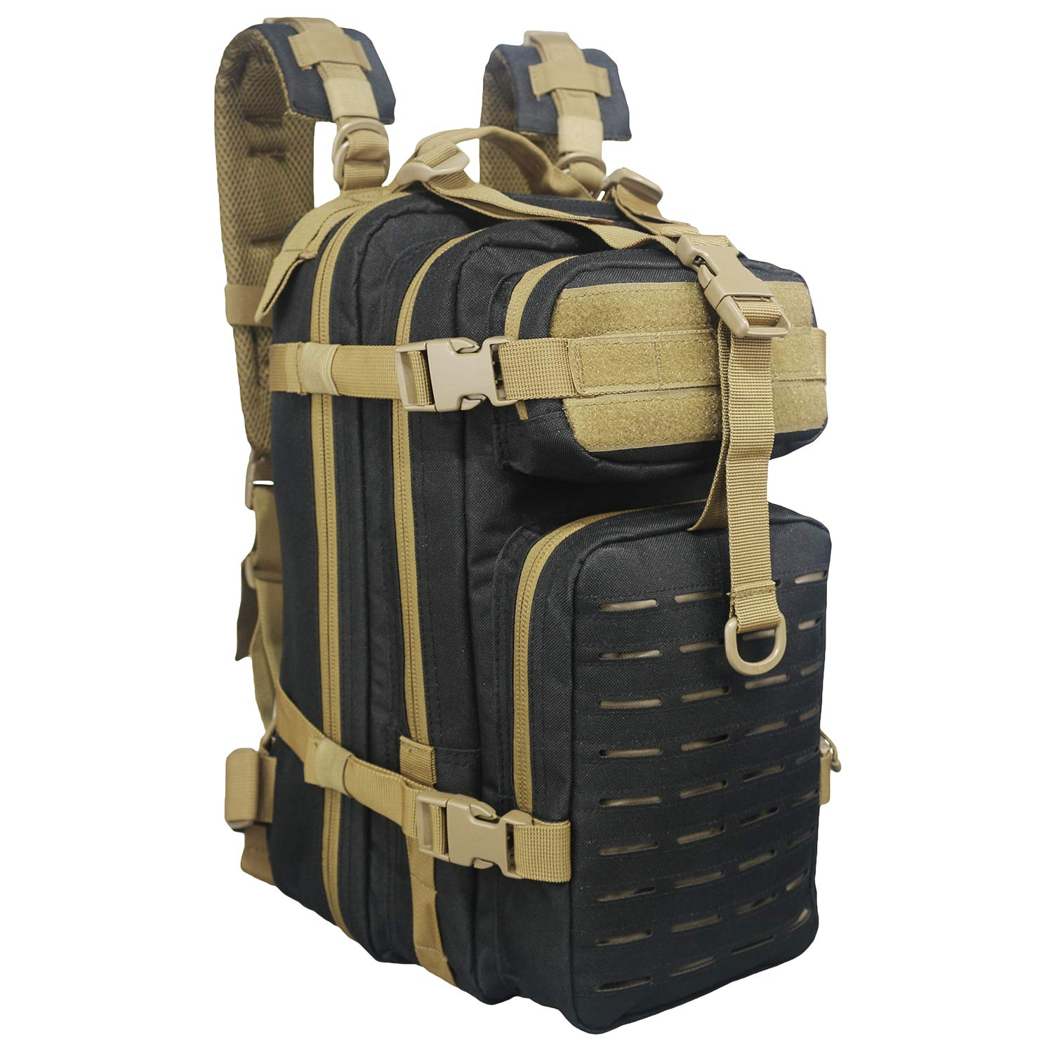 Fox Tactical Small Assault Backpack Military Backpack Tactical Bag, Waterproof,Molle System Rusksack for Outdoor, Hiking, Hunting,Camping Travel(Black/Tan)