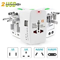 Universal Travel Adapter with Built in Dual USB Charger Ports with 125V 6A, 250V Surge/Spike Protected Electrical Plug (White)
