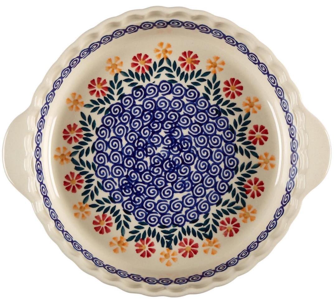 """Polish Pottery Cheery Flowers Pie Plate, 10""""L x 10""""W x 1.5""""H, Boleslawiec Ceramika Wiza Boleslawiec Polish Pottery"""