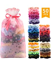 50 Pcs Premium Velvet Hair Scrunchies Hair Bands Scrunchy Hair Ties Ropes Scrunchie for Women or Girls Hair Accessories with gift bag
