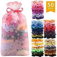 50 Pcs Premium Velvet Hair Scrunchies Hair Bands Scrunchy Hair Ties Ropes Scrunchie for Women or Girls Hair Accessories with gift bag