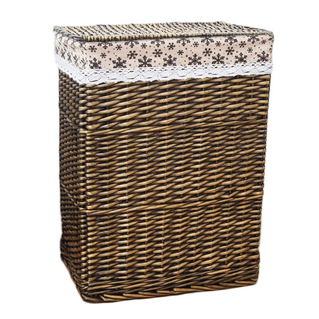 LINGZHIGAN 籐製の籐製の洗濯用バスケットコットンライニング汚れたハンパー衣類雑貨の広場収納バスケット (色 : B, サイズ さいず : 44*33*56cm) B07KF7X82J B 44*33*56cm