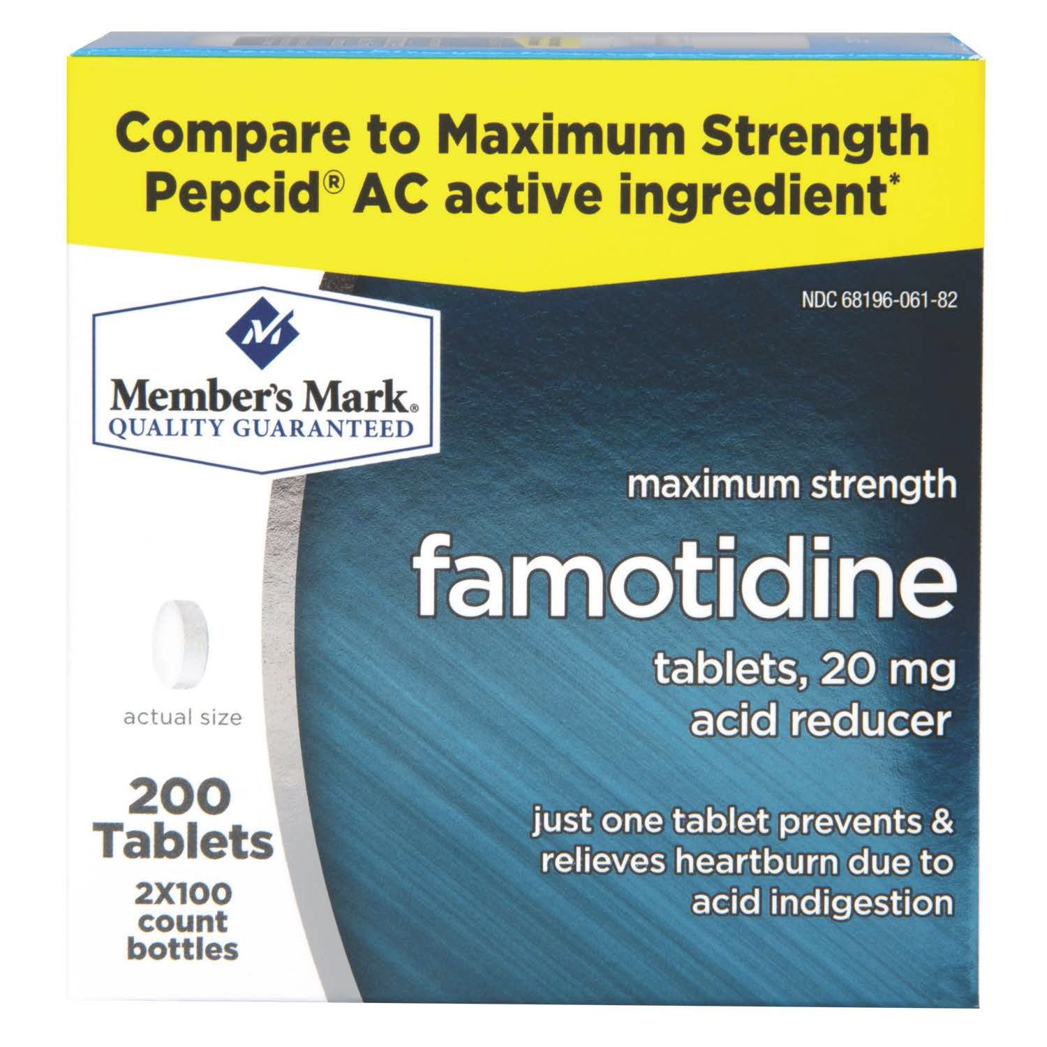 Member's Mark Maximum Strength 20mg Famotidine Acid Reducer - 200 Ct.