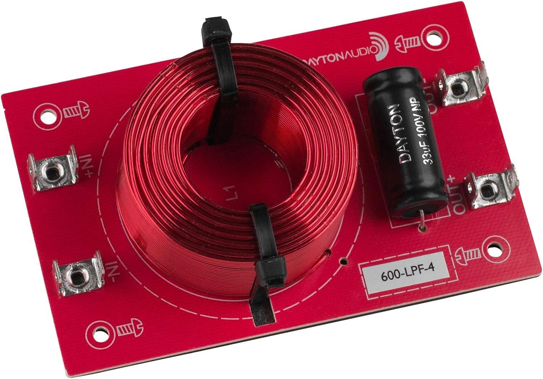 Dayton Audio 600-LPF-4 Low Pass Speaker Crossover 600 Hz 12 dB//Octave