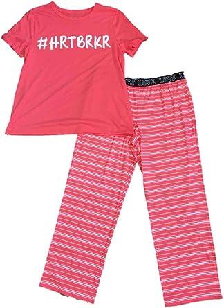 Womens #HRTBRKR Coral Pink /& White Striped Pajamas Hashtag Summer Sleep Set