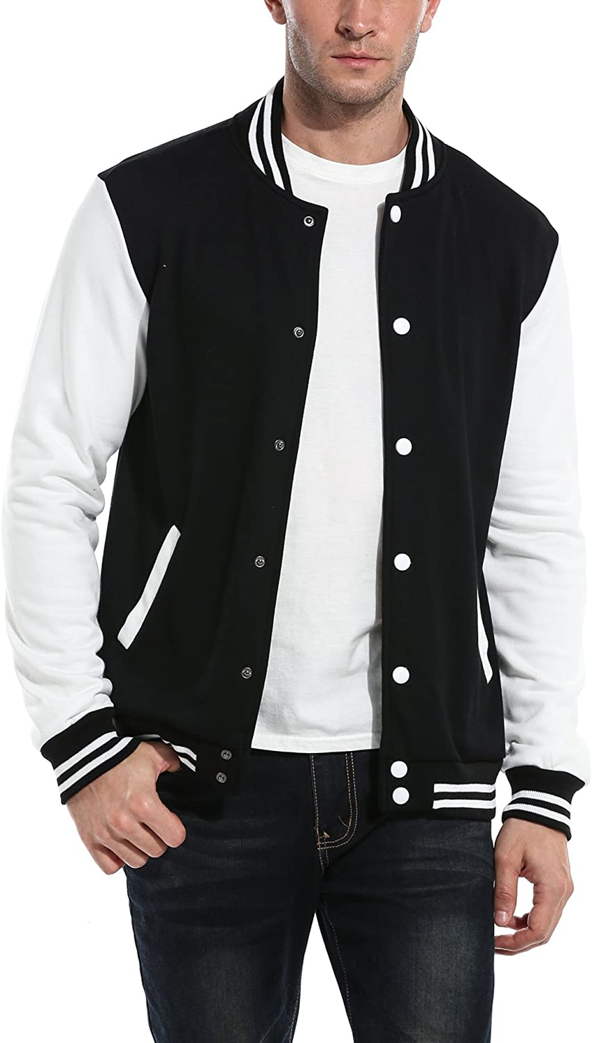 50s Men's Jackets | Greaser Jackets, Leather, Bomber, Gabardine COOFANDY Mens Slim Fit Varsity Baseball Jacket Bomber Cotton Premium Jackets $38.99 AT vintagedancer.com