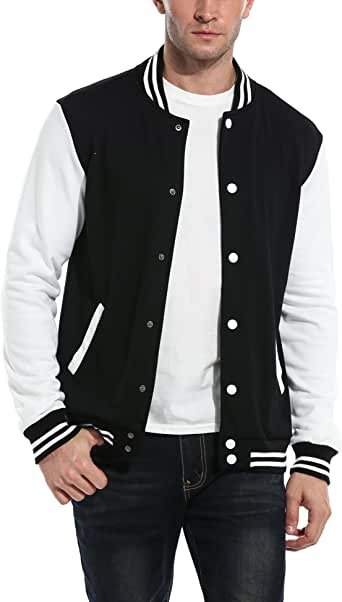 COOFANDY Mens Slim Fit Varsity Baseball Jacket Bomber Cotton Premium Jackets