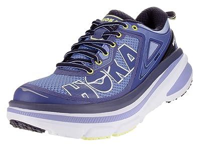 Hoka One Womens Bondi 4 Hydrangea Sunny Lime AnkleHigh Fabric Cross  Trainer Shoe