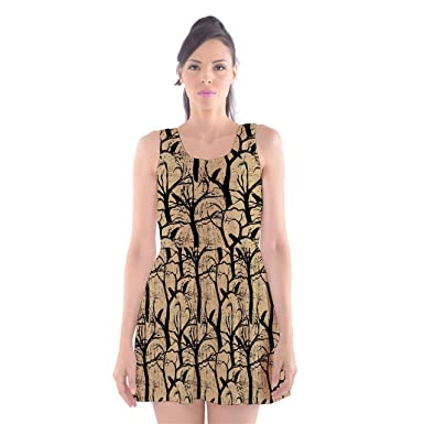 7d27de06d62 CowCow Womens Beige Crows And Ravens Scoop Neck Skater Dress
