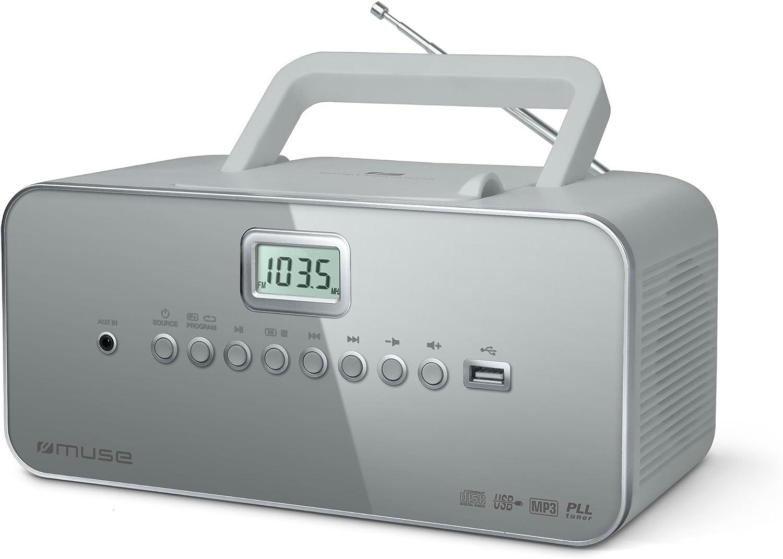 Muse M 28 Lg Cd Radio Tragbar Pll Ukw Radio Mw Tuner Senderspeicher Usb Mp3 Wiedergabe Netz Oder Batteriebetrieb Grau Audio Hifi