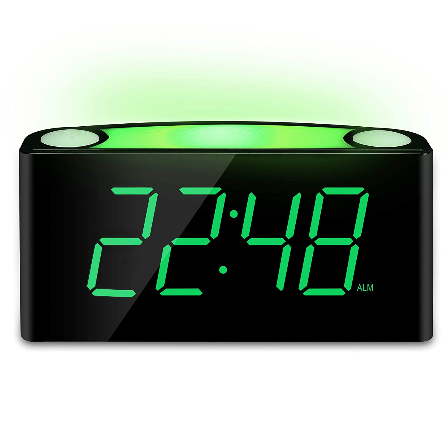 "Mesqool Alarm Clock with 12/24 Hours, 7-Color Night Light, 7"" LED Display with Large Digits, Multi-Level Dimmer, Double USB Chargers, Adjustable Alarm Volume, AC Powered and Battery Backup Settings Mesqool E-commerce Co.ltd MQL-CR1008-White"