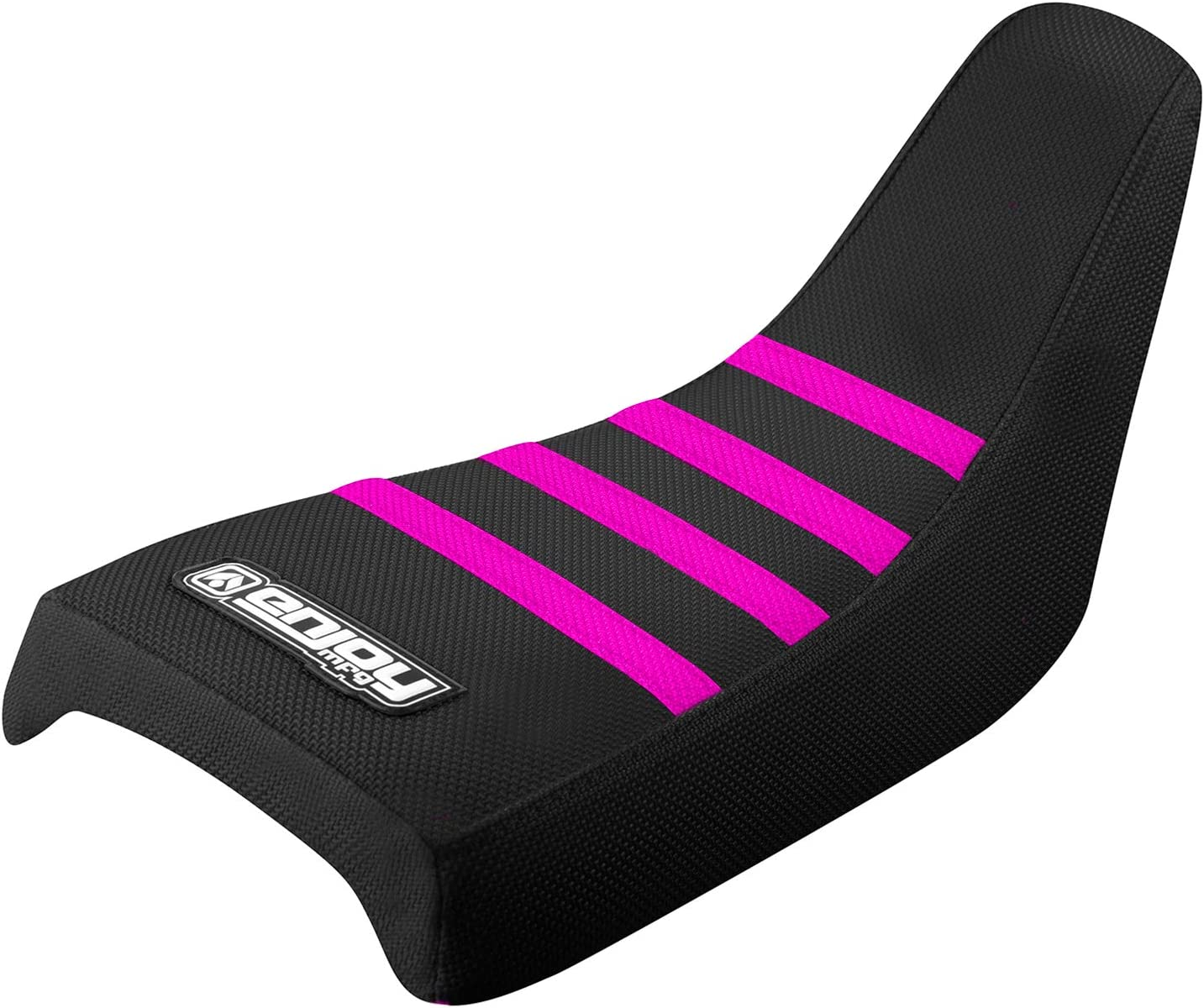 BLACK//NEON PINK YAMAHA PW 50 SEAT COVER ALL BLACK WITH RIBS GRIPPER