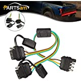 Partsam 4 Way Flat Y-Splitter Trailer Light Wiring Plug Adapters LED Strip Brake Turn Signal Tailgate Light Bar Universal Plug & Play Adapter Extension Harness