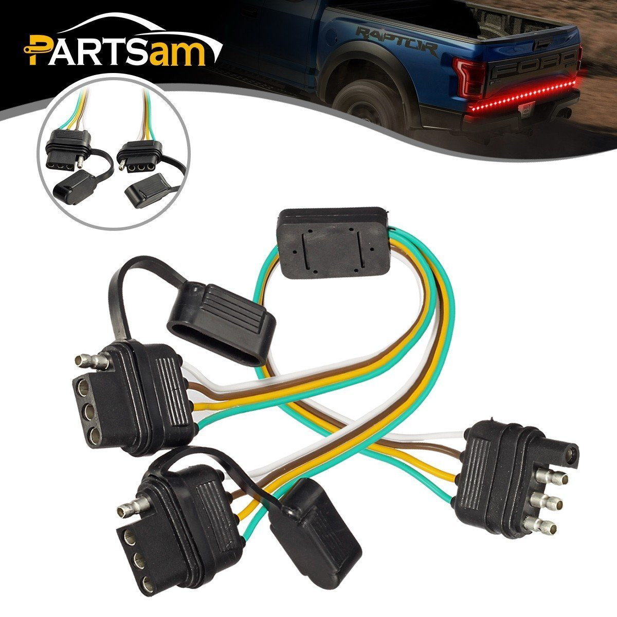 Partsam 4 Way Flat Y Splitter Trailer Light Wiring Plug Towpower 4wire Professional 4way Includes Bothnb Ends Adapters Led Strip Brake Turn Signal Tailgate Bar Universal Play Adapter