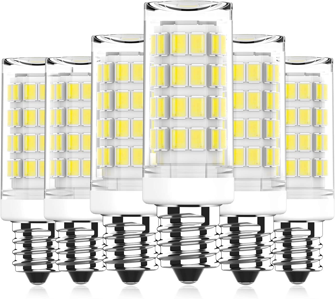 E12 LED Bulb 5W Equivalent to 40W Halogen Bulb, Daylight White 6000K, Candelabra Base E12 Light Bulbs for Ceiling Fan, Chandelier, Home Lighting, Non-dimmable, 6 Pack Yuiip