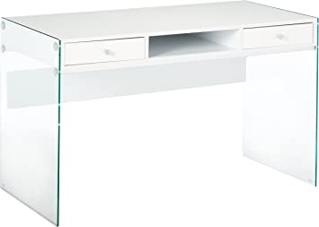 Amazon Com Writing Desk With Glass Sides Glossy White And Clear