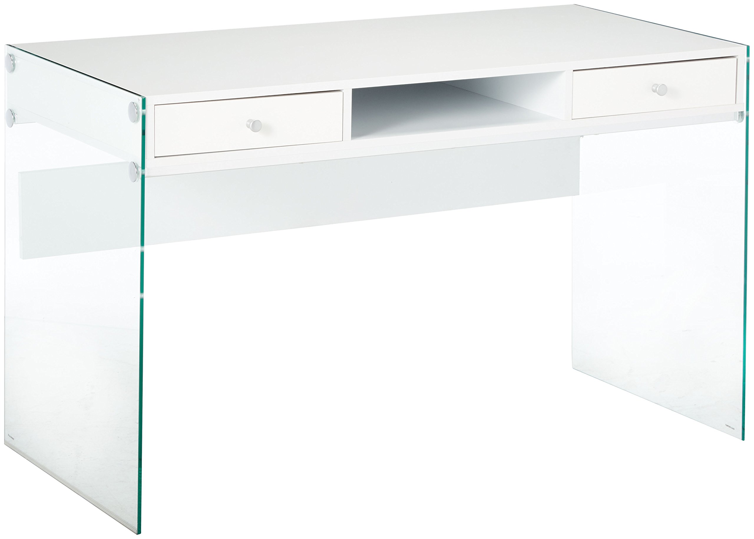 Writing Desk with Glass Sides Glossy White and Clear by Coaster Home Furnishings