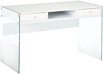Awesome Coaster Contemporary Glossy White Writing Desk With Glass Beutiful Home Inspiration Truamahrainfo