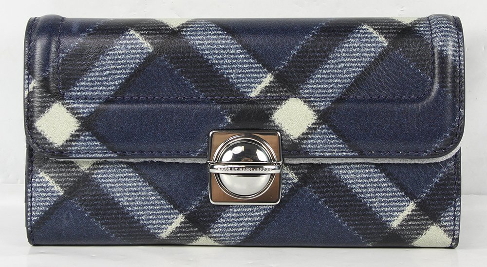 Marc Jacobs Top Schooly Plaid New Long Trifold Wallet in Skipper Blue Multi