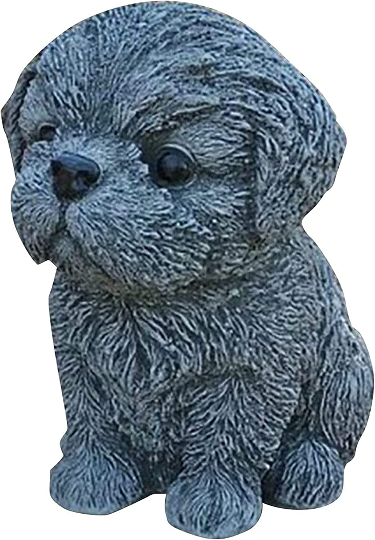 LUSTAR Dog Garden Statue, Dog Lover Gift Dog Figures Memorial Grave Marker Ornaments (12 x 15 cm