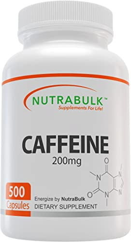 NutraBulk Premium Caffeine Capsules 200 mg – All Natural, Pharmaceutical Grade Microencapsulated Supplement for Energy, Weight Loss, and Focus 500 Count