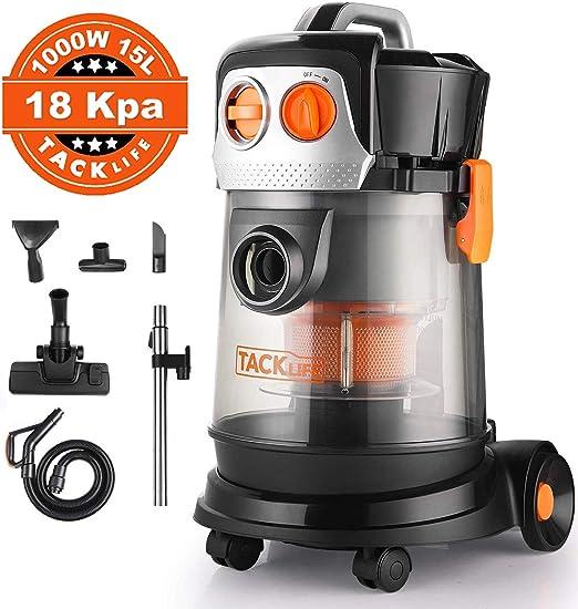 Tacklife PVC02D - Aspirador en seco y húmedo, 1000 W, 15 L, sin ...