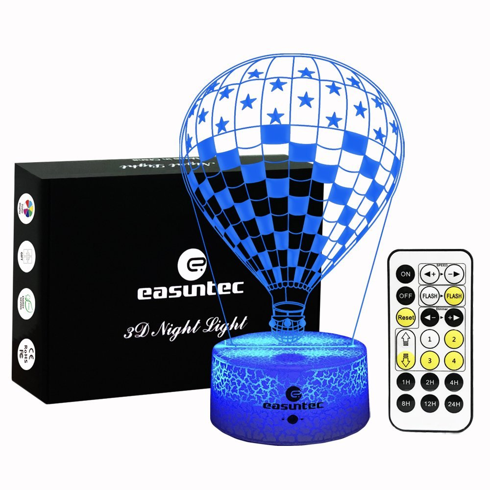 Easuntec Night Lights for Kids,Baby Night Light USA Flag Hot Balloon,7 Colors Change with Timer Remote Control,Gifts for Kids,Keep Your Kids Slept Well at Night (USA Flag Hot Balloon)