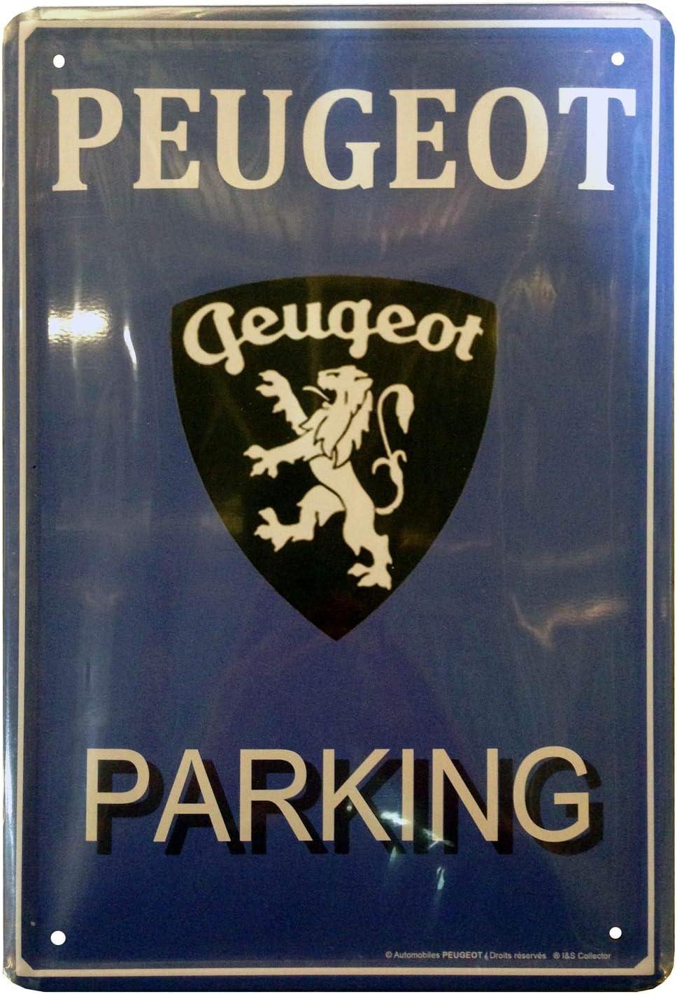 H 30 cm Parking /& Logo Peugeot G/&S Plaque M/étal 3D
