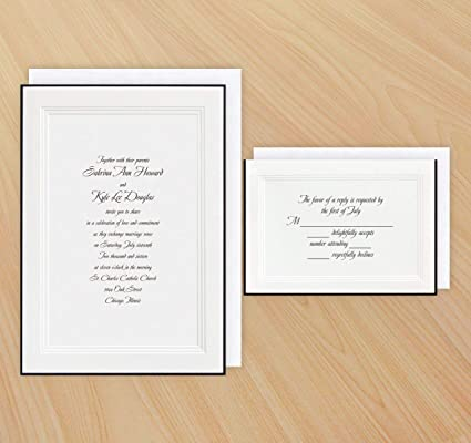 Amazon.com: A Classic Wedding Invitation (Black) And RSVP Cards