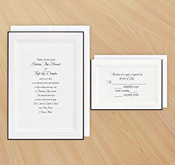 Amazon Com A Classic Wedding Invitation Black And Rsvp Cards With