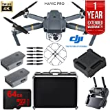 DJI Mavic Pro Extended Flight Package With Extra Battery, Custom Hard Case, DJI 4 Battery Charge Hub, Propeller Guards, 64GB High Speed Memory Card, and 2 Year Warranty
