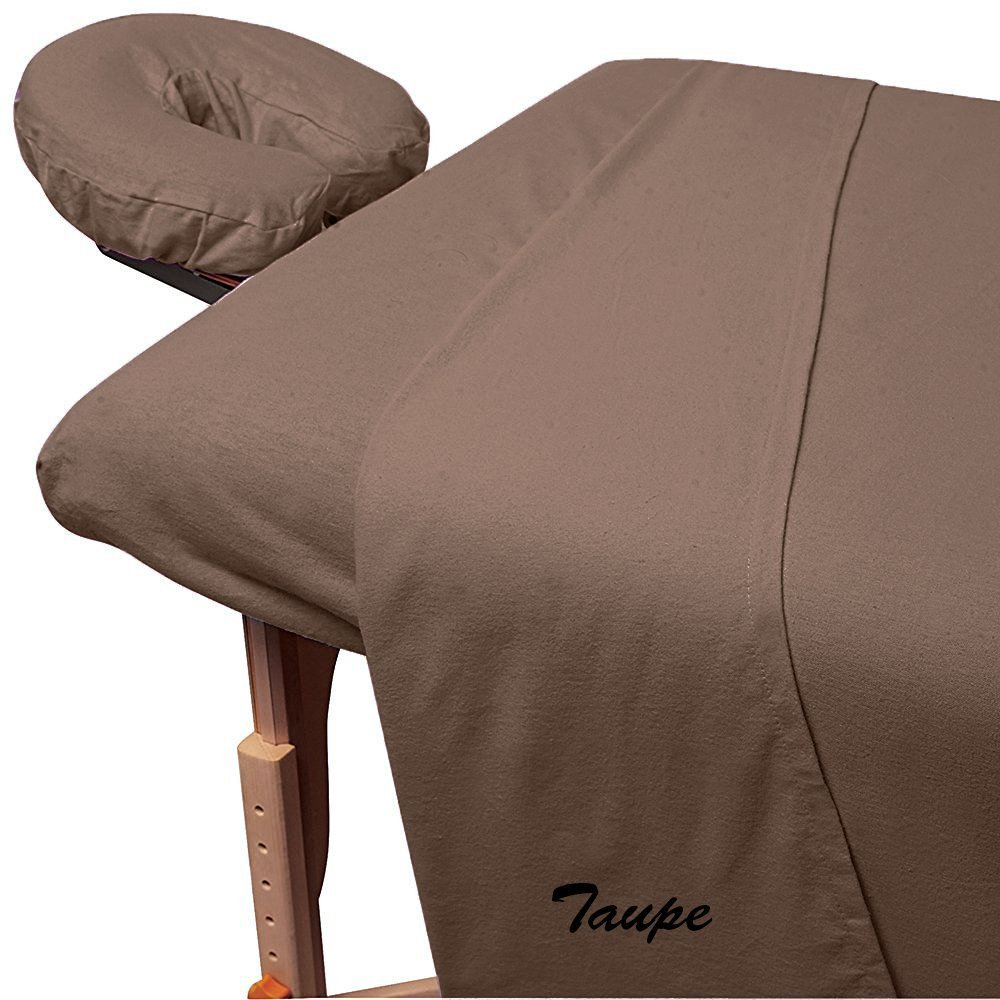 Rinku Linen 600 Thread Count Egyptian Cotton 3-Piece Massage Table Spa Sheet Set Taupe Solid