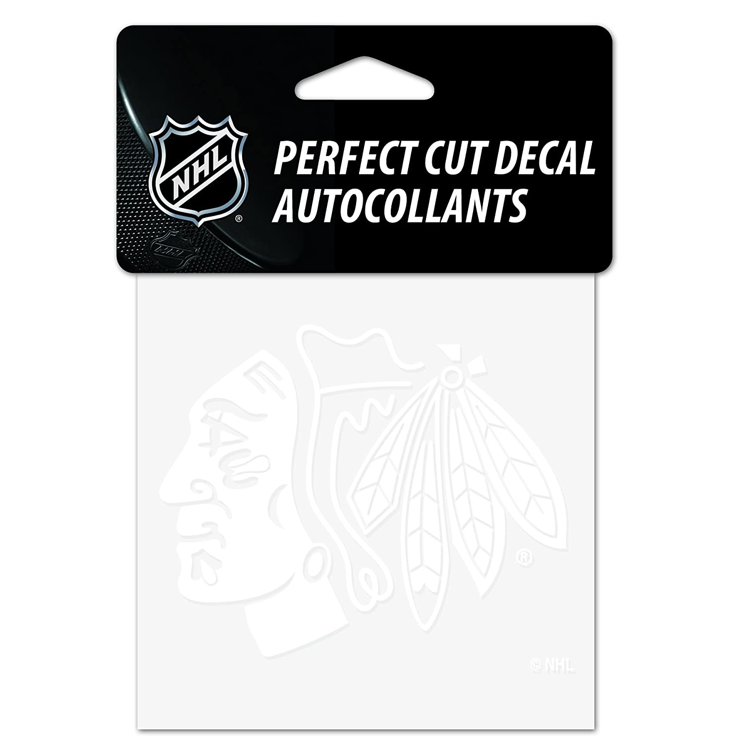 WinCraft NHL Chicago Blackhawks 4x4 Perfect Cut White Decal One Size Team Color