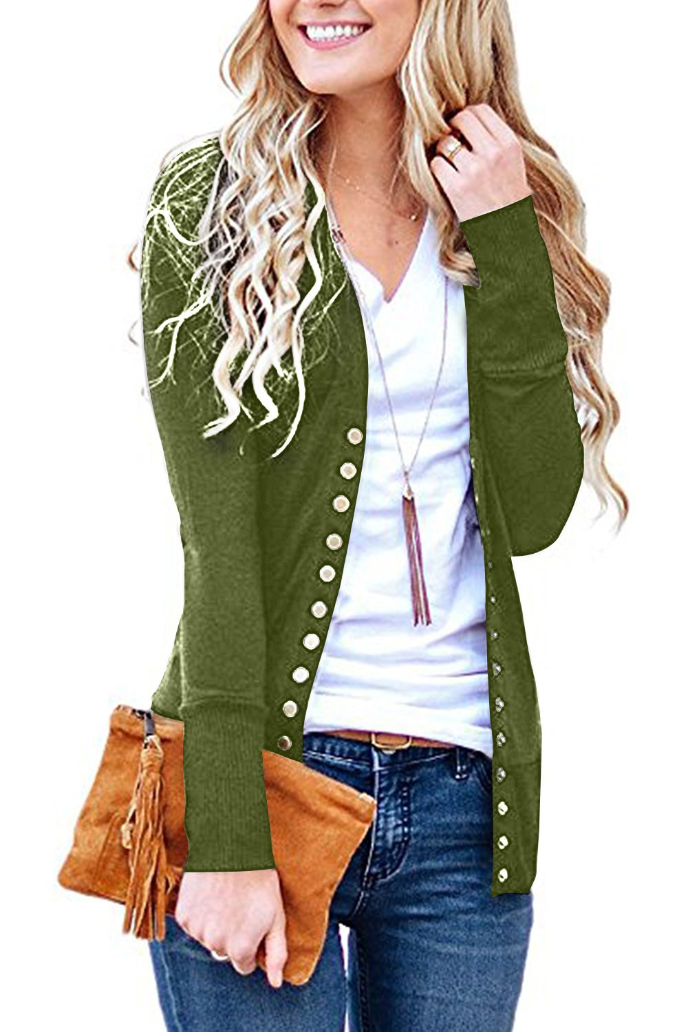 Steven McQueen Women's S-3XL Solid Button Front Knitwears Long Sleeve Casual Cardigans Olive M