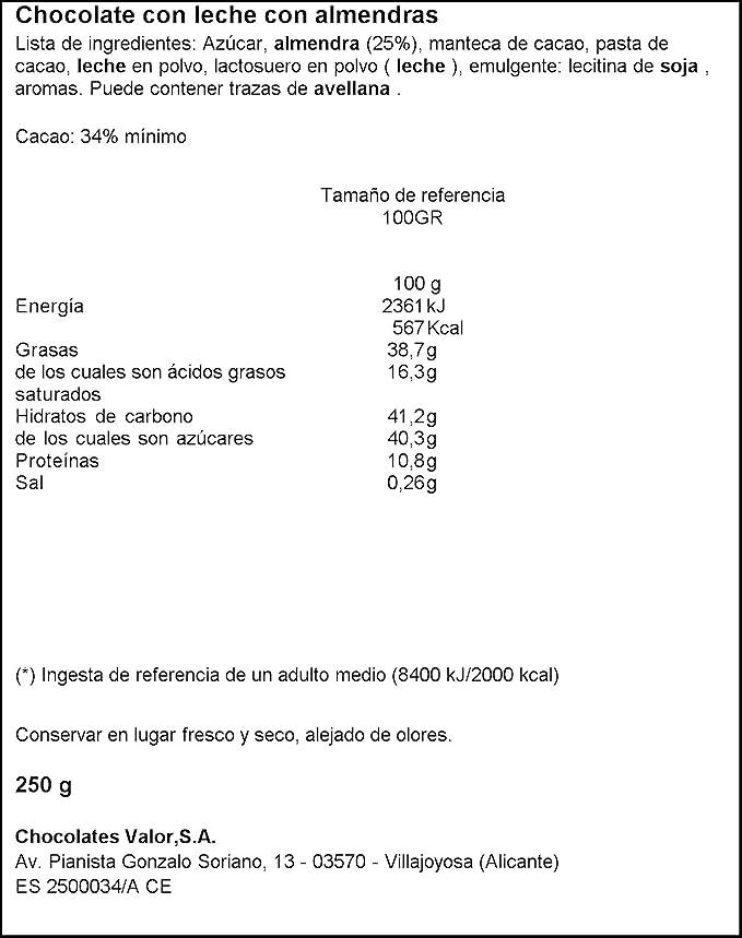 Chocolates Valor - Choholate con y Marconas Enteras - 250 g: Amazon.es: Alimentación y bebidas